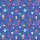 Vector seamless pattern with gardening tools and flowers Royalty Free Stock Photos