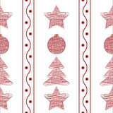 Vector seamless pattern garland of Christmas toys Royalty Free Stock Photo