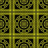 Vector seamless pattern with geometric ornament for bathroom, tiles, wallpaper, wrapping, etc. Bright yellow texture. Vector seamless retro pattern. Dark Stock Photos