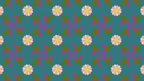 Light pink flowers over vivd green vector pattern. Vector seamless pattern. geometric pattern of pink flowers over a green background. suitable for decoration Royalty Free Stock Photo
