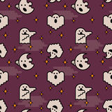 Vector seamless pattern. Ghost characters. Halloween illustration. Royalty Free Stock Images