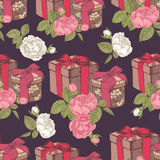 Vector seamless pattern with gift boxes and bouquets of roses. Royalty Free Stock Images