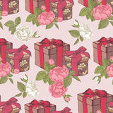 Vector seamless pattern with gift boxes and bouquets of roses Royalty Free Stock Photo