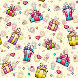 Vector seamless pattern with gift boxes Stock Images