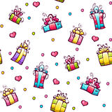 Vector seamless pattern with gift boxes Stock Image