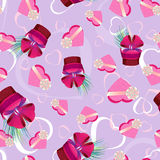 Vector seamless pattern with gift boxes vector illustration