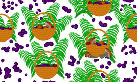 Vector seamless pattern with gifts of forests: baskets full of mushrooms and blueberries and fern leaves Royalty Free Stock Photo