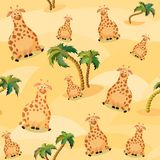 Vector seamless pattern with giraffe. Cute fat cartoon character. The concept of fun design for clothing and interior. Simple vector illustration
