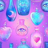 Vector seamless pattern with glass flasks. Magic potions: tubes stock illustration