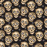 Vector Seamless pattern Gold Calavera skull. Hand drawn Virile male design texture. On black background. Mexican day of the dead concept stock illustration