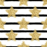 Vector seamless pattern with gold glitter stars Royalty Free Stock Photos