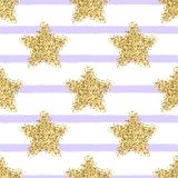 Vector seamless pattern with gold glitter stars and stripes. Vector colorful seamless pattern with gold glitter stars and stripes royalty free illustration
