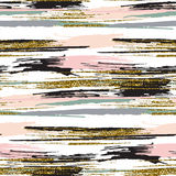 Vector seamless pattern with gold glitter textured brush strokes and stripes Royalty Free Stock Photography