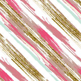 Vector seamless pattern with gold glitter textured brush strokes and stripes Royalty Free Stock Photos