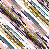 Vector seamless pattern with gold glitter textured brush strokes and stripes Royalty Free Stock Images