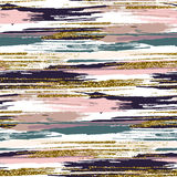 Vector seamless pattern with gold glitter textured brush strokes and stripes Stock Photos