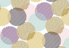 Vector seamless pattern with gold glitter textured circles and stripes. Stock Photos