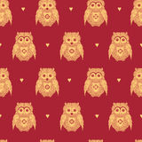 Vector seamless pattern with gold owls Stock Photo