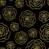 Vector seamless pattern with gold roses outline on the black background. Stock Photography