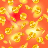 Vector seamless pattern with golden coins falling down isolated on blurred red background. Stock Images