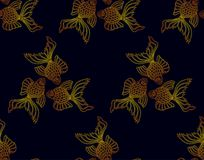 Vector seamless pattern from golden goldfish on dark background. Fish background Stock Images