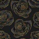 Vector seamless pattern. Golden outline rose flowers on black background royalty free illustration