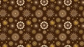 Vector seamless pattern of golden snow flakes over deep brown background Royalty Free Stock Images