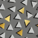 Vector seamless pattern with golden triangles. Decorative background for printing Royalty Free Stock Photos