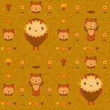 Vector seamless pattern with gophers and owls. Vector funny seamless pattern with gophers and owls Stock Photos