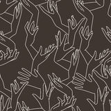 Vector seamless pattern of graceful female hands. Vector seamless pattern of contrasting graceful female hands intertwined royalty free illustration