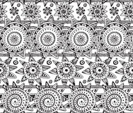 Vector seamless pattern with graphic doodle suns Royalty Free Stock Image