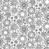 Vector seamless pattern with graphic doodle suns Stock Image