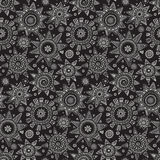 Vector seamless pattern with graphic doodle suns Stock Photography