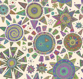Vector seamless pattern with graphic doodle suns Stock Images