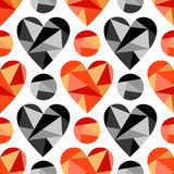 Vector seamless pattern, graphic illustration. Vector seamless pattern with black, red abstract hearts on the white background. Polygonal design. Geometric Stock Photo