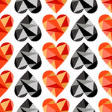 Vector seamless pattern, graphic illustration. Vector seamless pattern with black, red abstract hearts on the white background. Polygonal design. Geometric royalty free illustration
