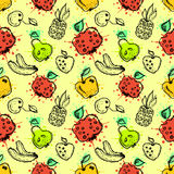 Vector seamless pattern, graphic illustration. Seamless vector pattern. Hand drawn fruits illustration of colorful cherry, pomegranate, pineapple, banana, pear Stock Image