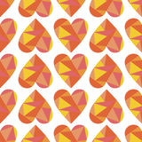 Vector seamless pattern, graphic illustration. Vector seamless pattern with red abstract hearts on the white background. Polygonal design. Geometric triangular Royalty Free Stock Photography