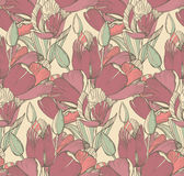Vector seamless pattern with graphic spring flowers (tulips) in Stock Photo