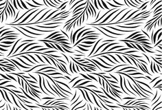 Vector seamless pattern of graphical leaves shapes, monochrome botanical illustration, floral elements, hand drawn. Repeatable background. Simple botanical stock illustration