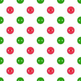 Vector seamless pattern with green abd red buttons on white background. For thematic invitation, scrap paper, wallpaper. Vector seamless pattern with colorful vector illustration
