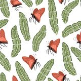 Vector seamless pattern of green banana leaves with butterflies on white background royalty free illustration