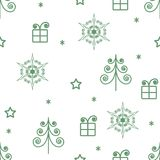 Seamless pattern of green Christmas trees and stars and gifts. Vector seamless pattern of green Christmas trees and stars and gifts Royalty Free Stock Photo