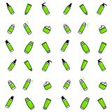 Vector seamless pattern. Green icons set of deodorants, tooth paste, cream, bottle of serum, shampoo, shower gel, liquid soap. royalty free illustration