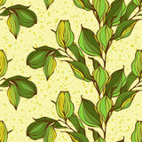 Vector seamless pattern with green leaves Royalty Free Stock Photography