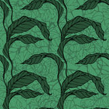 Vector seamless pattern with green leaves Stock Photo
