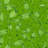Vector seamless pattern with green leaves. Seamless vector pattern with green leaves on green background Stock Photography