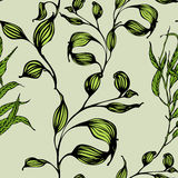 Vector seamless pattern with green leaves Royalty Free Stock Image