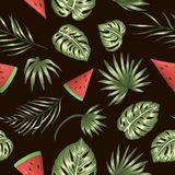 Vector seamless pattern of green palm tree and monstera leaves with red watermelon on black background stock illustration