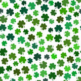 Vector seamless pattern with green shamrock, symbol of st. Patri Royalty Free Stock Images